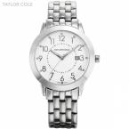 тейлор коул люксового бренда женщины одеваются серебряный Relogio авто дата-белый циферблат браслет часы леди мода кварцевые часы / TC031