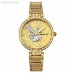 Taylor cole роскошный круглый полный золото кристаллический случай леди тонкий кварцевые Стальной ленты Браслет Часы Женщины женские Часы Подарочные Коробки/TC091