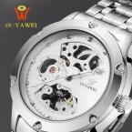 ouyawei мужские часы серебро скелет аналоговый мужчины механическая автоматическая наручные стальной ленты часы водонепроницаемые relogio masculino cloc