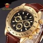 OUYAWEI Золото автоматические механические часы мужчин Лучший Бренд Класса Люкс наручные часы для мужчин 22 мм кожа скелет reloj hombre