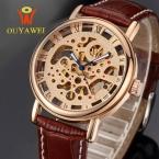 ГОРЯЧАЯ золотой скелет часы Top Brand Luxurygold часы для мужчин кожа Механические Наручные Часы reloj hombre