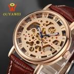 OUYAWEI Мужские Часы Лучший Бренд Моды Роскошь Кожа Скелет Механические Наручные Часы Мужские Часы Мужчины Часы Relogio Masculino