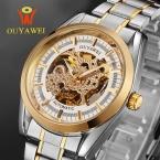 Золото Мужчины Скелет Механические Часы Из Нержавеющей Стали мужские автоматические часы Прозрачный Стимпанк Montre Homme Наручные Часы