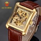 Золотой скелет автоматические механические часы лучший бренд ouyawei luxury мужские часы площади бизнес-наручные часы reloj hombre кол саати