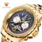 Мужские часы OUYAWEI Элитный бренд механические часы Автоматические Tourbillon наручные часы Мужская нержавеющей стали бизнес-дата мужской часы
