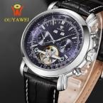 Ouyawei luxury brand наручные часы кожаный ремешок автоматические механические часы fashion бизнес мужские часы relogio masculino часы