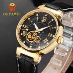Ouyawei бренд класса люкс бизнес turbillon часы мужчины автоматические механические наручные часы для водонепроницаемый натуральная кожа reloj mujer