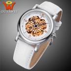 Оригинальный OUYAWEI Скелет Автоматические Механические Часы для мужчин Кожаный Ремешок Водонепроницаемый Любовник Наручные Часы xfcs Relojes Hombre