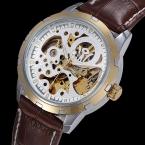 OUYAWEI Luxury Brand Скелет Механические Часы Автоматического Самообслуживания Ветер Мужские Часы Кожа Повседневная Наручные Часы Платье Эркек Кол Саати
