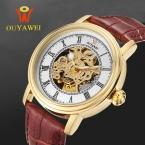 Автоматические механические часы скелет часы мужчины люксовый бренд ouyawei наручные часы из натуральной кожи наручные часы мужские мужские часы