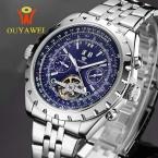Ouyawei мужчины известная марка наручные часы автоматическая дата/неделю турбийон маховик механические часы из нержавеющей стали relogio masculino