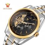 OUYAWEI бренд швейцарские часы мужские автоматические Скелет механические наручные часы Мода Повседневная нержавеющей стали часы Relogio Masculino