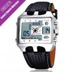 OHSEN Dual Time прямоугольник Часы мужские Водонепроницаемый кожа рук Цифровые кварцевые мужские часы брендовая Модная Повседневная деловая часы