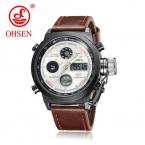 OHSEN Брендовые мужские модные наручные часы класса люкс известный бренд мужской кожаный ремешок часы спортивные часы Повседневная Высокое качество Водонепроницаемый