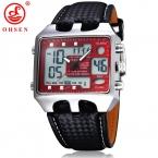Мужские спортивные часы, походные часы в стиле милитари с красным диском и черным кожаным ремешком. Повседневные наручные часы марок OSHEN, Relogio, Masculino