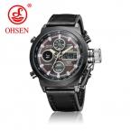 OHSEN Мужчины часы Dual Time Zone Alarm ЖК-дисплей спортивные часы мужские кварцевые наручные часы кожаный Водонепроницаемый Мужские кварцевые спортивные часы