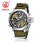 Лидер продаж Оригинальные известный бренд OHSEN Кварц спортивные мужские часы мужской часы нейлон группа Мода Повседневная Наручные часы для мужчин подарок