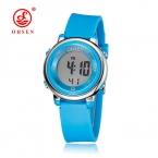 бренд Ohsen цифровые ЖК-дисплей детская модная одежда для девочек Наручные милые девушки каучуковый ремешок 50 м Водонепроницаемый ребенок часы будильник ручной часы