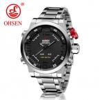 Мужские наручные часы Ohsen смотреть Элитный бренд мужчины часы Полный стали часы будильник LED часы кварцевые Водонепроницаемый Relogio Masculino