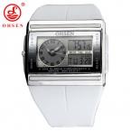 OHSEN Мужчины часы прямоугольник световой спортивные часы Relogio Многофункциональный каучуковый ремешок модные мужские Кварцевые спортивные часы