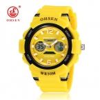 НОВЫЙ OHSEN Женщины LED наручные часы Мода Круглый кварцевые электронные часы резиновая Повседневная женские спортивные часы Relogio feminino