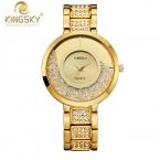 Kingsky Montre Femme Элитный Бренд женское платье часы стали Кварцевые часы бриллиантами золотые часы для женщины наручные часы