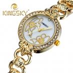 KingSky  женская Мода с цветком Аналоговых Сплав Кварца Наручные Часы Montre Роковой relógio feminino