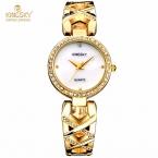KingSky Марка Мода Женщины Кварцевые Часы relojes Сплав Наручные Часы с бриллиантами роскошные женщины платье Золотые часы relógio feminino