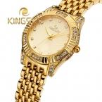 KingSky  Высокое Качество Часы Женщины Моды 2 Цветов Relógio Feminino Повседневную одежду Кварцевые Часы Горный Хрусталь Аналоговые золотые Часы