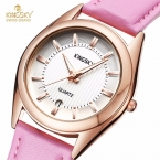 KINGSKY Женщин Часы с Календарем Моды Платье Часы Розовый Кожаный Ремешок Простой Циферблат Дамы Кварцевые Наручные часы Montre Femme