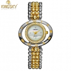 KINGSKY Марка часы женщины Моды Случайные Ремешок Rhinestone дамы кварцевые часы часы relogio feminino