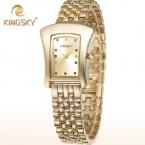 KingSky Новая Мода Часы Женщины Платье Часы Из Розового Золота Кварцевые Женщины Горный Хрусталь Наручные часы montre femme