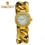 KingSky  Прибытие Женщины Моды Платье Кварцевые Часы Сплав ремень Дамы Золотые Часы Девушка Роскошные Известная Марка relogio feminino
