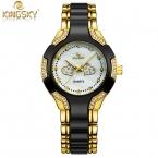 KINGSKY Женщин Мужчин Унисекс Дамы Relógio Feminino relojes mujer Кварцевые часы Наручные Часы Montre Роковой Бренд Золотые Часы для леди
