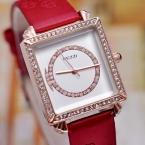 Luxury brand kezzi женские кварцевые часы изысканные инкрустированные кристалл площади набора снежинка pattern печати кожаный ремешок водонепроницаемые часы