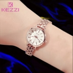 KEZZI известная марка кварцевые часы женщины полный из нержавеющей стали наручные часы женская одежда горный хрусталь браслет Смотреть Montre Femme подарок