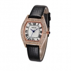 Kezzi марка женщины кожаный ремешок часы ретро горный хрусталь римские цифры платье часы водонепроницаемые женские кварцевые часы relogio feminino