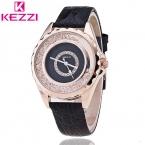 Kezzi Женщины Моды и Случайные Нержавеющей Стали Пряжки 3bar Бумаги Стекло Круглый Кожаный Кварцевые Наручные Часы