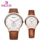KEZZI брендовые кожаные мужские спортивные часы простые женские кварцевые часы Любители Пара наручные часы Relogio masculino с коробкой