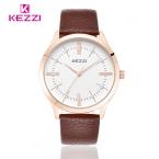 KEZZI Luxury Brand любовника Часы Римские цифры Бизнес Мужчины Часы Водонепроницаемый Кожаный Ремешок Кварцевые Часы Пара Таблице