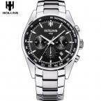 Мужские кварцевые часы, топовый бренд, роскошные, 24 мм. ремешок из нержавеющей стали, спортивные часы для мужчин с инструментами для часов, мужские часы/HS002