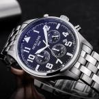 Человек смотреть черный ремешок из нержавеющей стали моды Бизнес Кварцевые часы Мужчины Спорт полный стали Водонепроницаемый наручные часы для мужчин