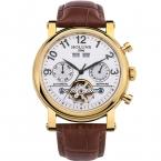 лучшие продажи роскошные большой циферблат бизнес Ретро скелет из нержавеющей стали автоматические Механические мужские часы с кожаный ремешок
