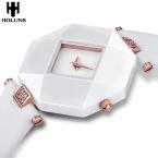 Мода sexy женщины одеваются сапфир керамические часы большой циферблат черный Квадрат белый Противоударный Водонепроницаемый relogio feminino
