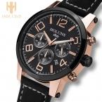 Большой циферблат кожаный ремешок кварцевые мужские часы моды старинные часы водонепроницаемые многофункциональный мужчина часы из брендов holuns