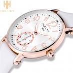 тенденции Моды Holuns большой циферблат Водонепроницаемый кварцевые Casual женские часы, Нержавеющая Сталь, специальные любовь подарок для леди
