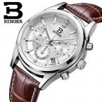 Швейцария БИНГЕР мужские часы люксовый бренд Кварц водонепроницаемый кожаный ремешок авто Дата Хронограф часы BG6019-M