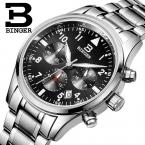 Швейцария БИНГЕР мужские часы люксовый бренд Кварц водонепроницаемый полный нержавеющей стали Хронограф Секундомер Наручные Часы B9202-2
