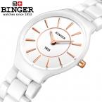 Швейцария binger керамические кварцевые женские часы любителей моды стиль роскоши часы наручные часы 300 м водонепроницаемость b8006-5
