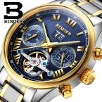 Швейцария binger мужчины смотреть luxury brand tourbillon сапфир световой несколько функций механические наручные часы b8602-7